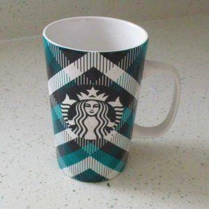 Starbucks Green & Black Tartan Plaid Mug 16 oz